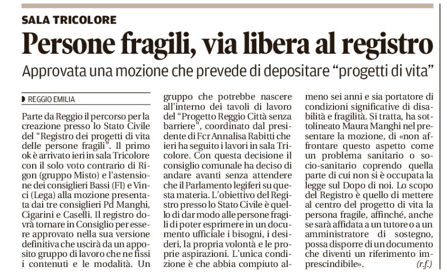 Il Registro dei Progetti di Vita di Reggio Emilia