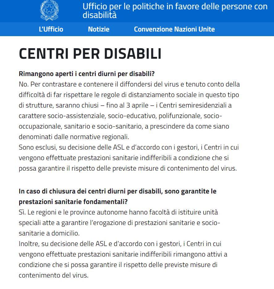 Disabili: emergenza Coronavirus e centri diurni